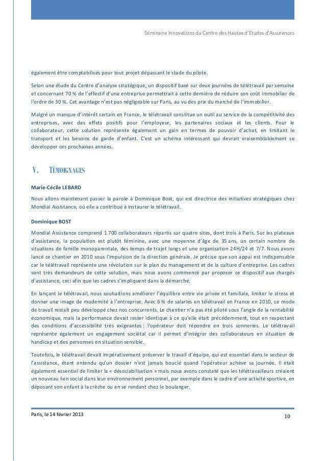 Séminaire Innovations du Centre des Hautes d'Etudes d'Assurances Paris, le 14 février 2013 10 également être comptabilisés...