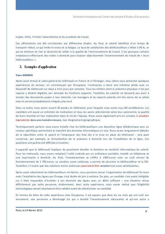Séminaire Innovations du Centre des Hautes d'Etudes d'Assurances Paris, le 14 février 2013 8 trajets. Enfin, il limite l'a...