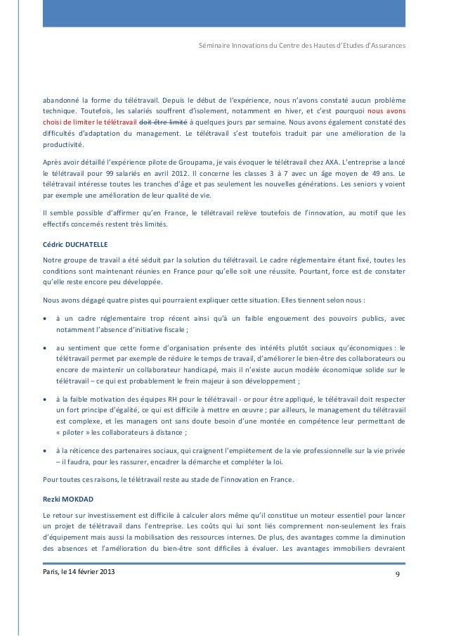 Séminaire Innovations du Centre des Hautes d'Etudes d'Assurances Paris, le 14 février 2013 9 abandonné la forme du télétra...