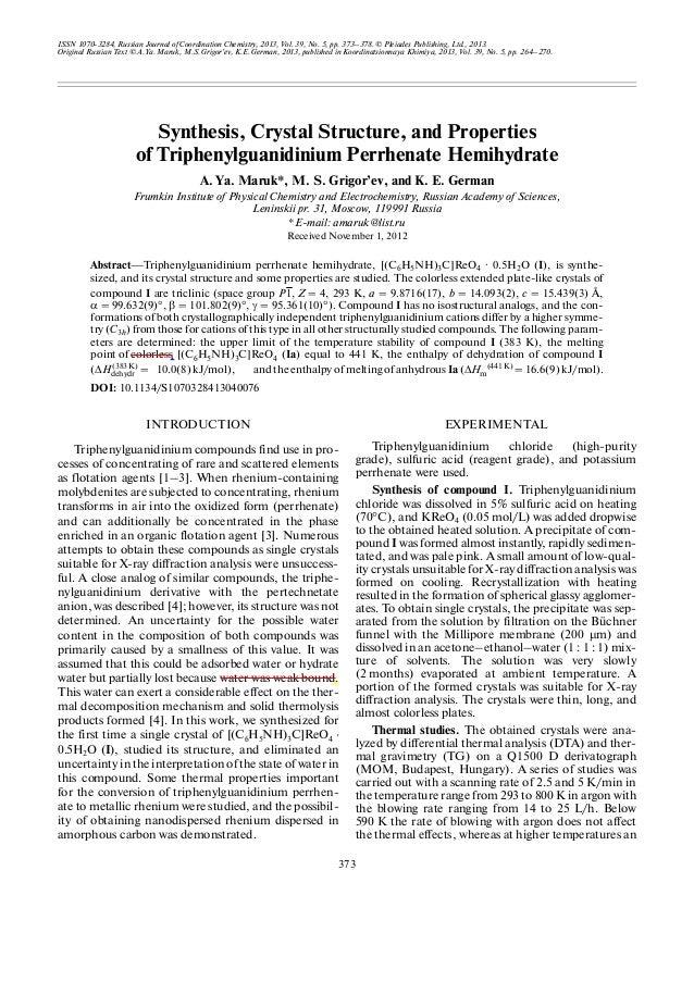 ISSN 1070 3284, Russian Journal of Coordination Chemistry, 2013, Vol. 39, No. 5, pp. 373–378. © Pleiades Publishing, Ltd.,...