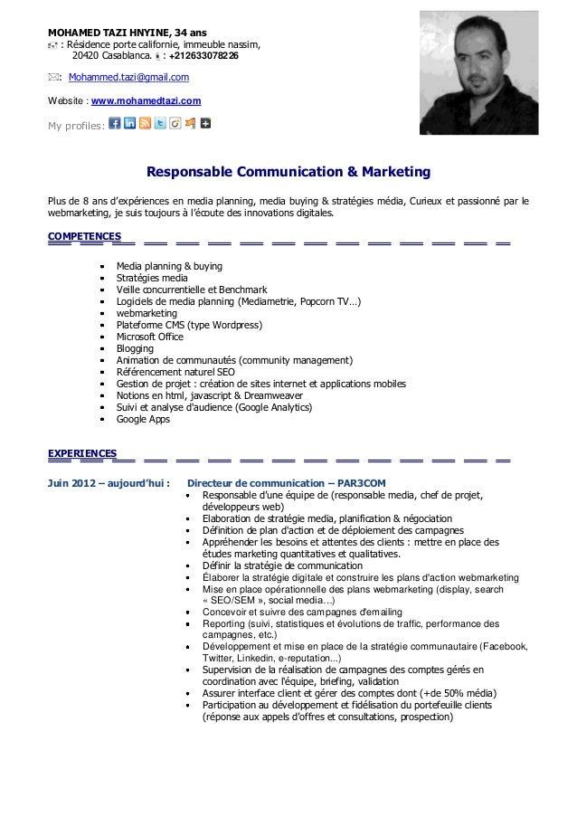 cv responsable achats exemple 2013 cv   mohamed tazi   responsable communication & marketing cv responsable achats exemple