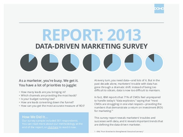 REPORT: 2013 DATA-DRIVEN MARKETING SURVEY As a marketer, you're busy. We get it. You have a lot of priorities to juggle: •...