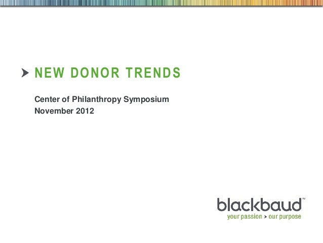 NEW DONOR TRENDS        Center of Philanthropy Symposium        November 201202/07/2013   Customer & Market Insights   1