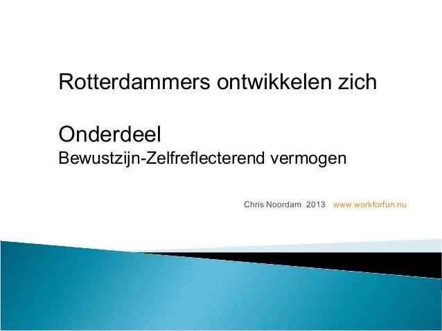 Chris Noordam 2013 www.workforfun.nu Rotterdammers ontwikkelen zich Onderdeel Bewustzijn-Zelfreflecterend vermogen