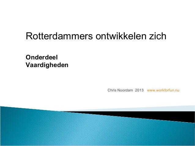 Chris Noordam 2013 www.workforfun.nu Rotterdammers ontwikkelen zich Onderdeel Vaardigheden