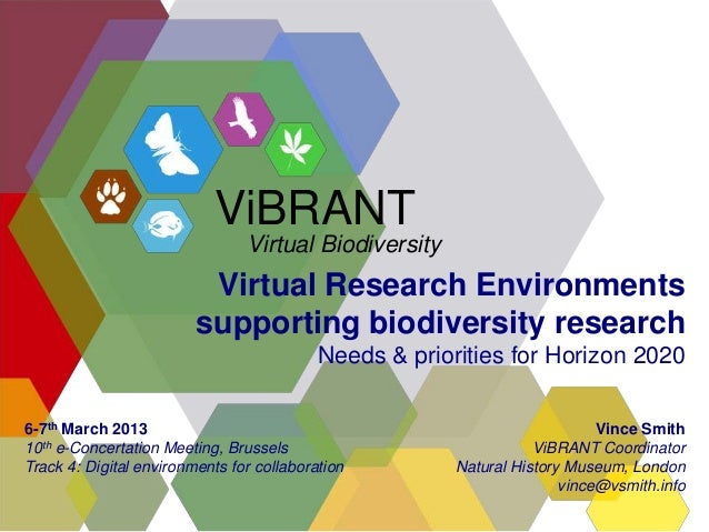 Virtual Research Environmentssupporting biodiversity researchNeeds & priorities for Horizon 2020Vince SmithViBRANT Coordin...