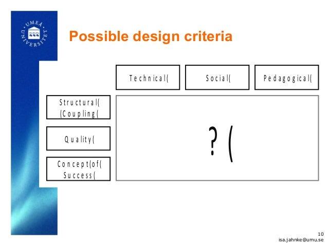 Possible design criteria S t r u c t u r a l( (C o u p lin g ( T e c h n ic a l( S o c ia l( P e d a g o g ic a l( Q u a l...