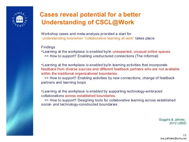 Cases reveal potential for a better Understanding of CSCL@Work Workshop cases and meta-analysis provided a start for under...