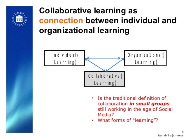Collaborative learning as connection between individual and organizational learning In d iv id u a l) L e a r n in g ) C o...