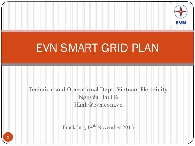 EVN SMART GRID PLAN  Technical and Operational Dept., Vietnam Electricity Nguyễn Hải Hà Hanh@evn.com.vn  Frankfurt, 14th N...