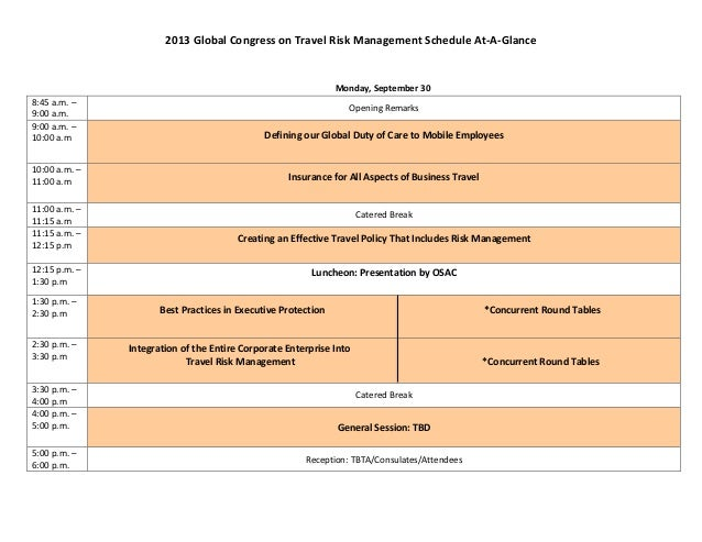 2013	  Global	  Congress	  on	  Travel	  Risk	  Management	  Schedule	  At-­‐A-­‐Glance	                                  ...
