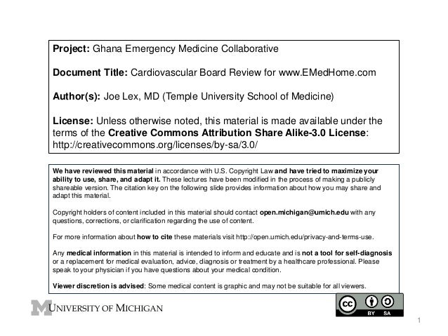 Project: Ghana Emergency Medicine Collaborative Document Title: Cardiovascular Board Review for www.EMedHome.com Author(s)...