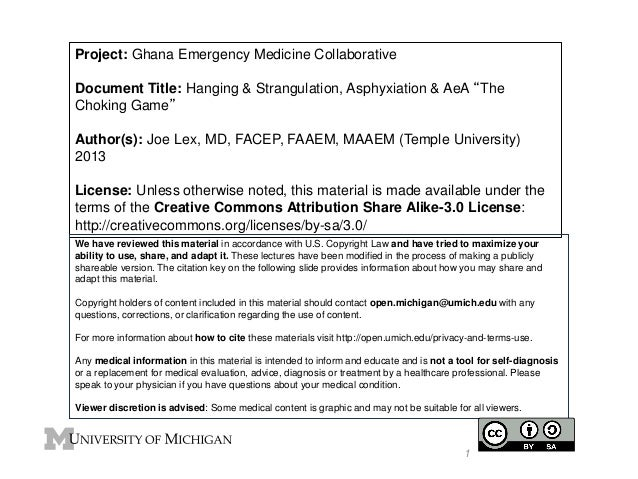 "Project: Ghana Emergency Medicine Collaborative Document Title: Hanging & Strangulation, Asphyxiation & AeA ""The Choking G..."
