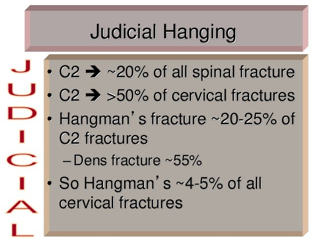 Judicial Hanging • C2  ~20% of all spinal fracture • C2  >50% of cervical fractures • Hangman's fracture ~20-25% of C2 f...