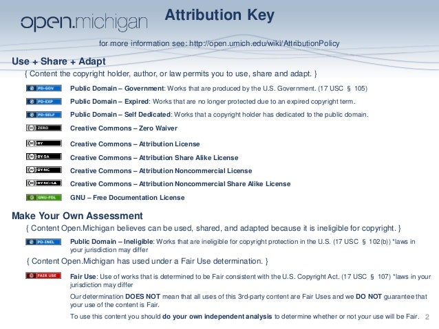 Attribution Key for more information see: http://open.umich.edu/wiki/AttributionPolicy Use + Share + Adapt Make Your Own A...