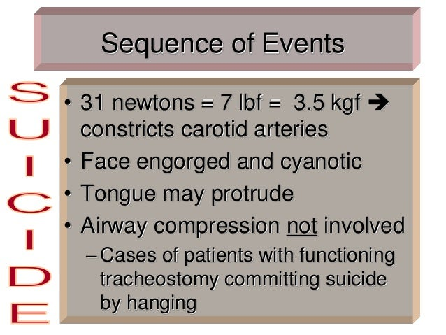 Sequence of Events • 31 newtons = 7 lbf = 3.5 kgf  constricts carotid arteries • Face engorged and cyanotic • Tongue may ...
