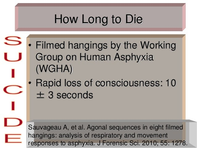 How Long to Die • Filmed hangings by the Working Group on Human Asphyxia (WGHA) • Rapid loss of consciousness: 10 ± 3 seco...