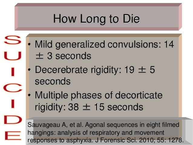 How Long to Die • Mild generalized convulsions: 14 ± 3 seconds • Decerebrate rigidity: 19 ± 5 seconds • Multiple phases of...