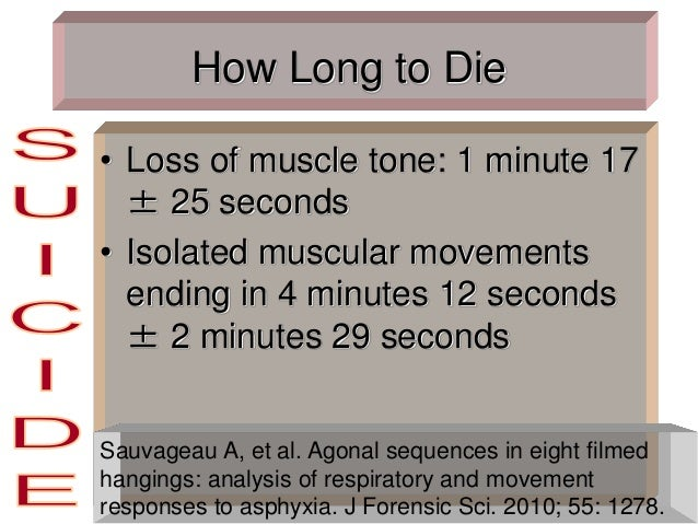 How Long to Die • Loss of muscle tone: 1 minute 17 ± 25 seconds • Isolated muscular movements ending in 4 minutes 12 secon...