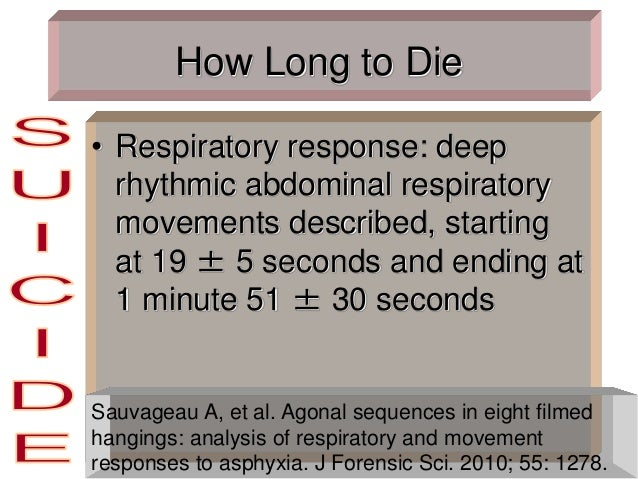 How Long to Die • Respiratory response: deep rhythmic abdominal respiratory movements described, starting at 19 ± 5 second...