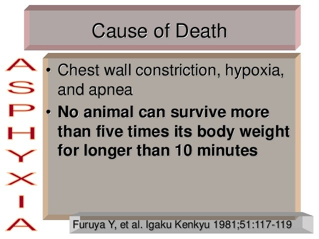 Cause of Death • Chest wall constriction, hypoxia, and apnea • No animal can survive more than five times its body weight ...