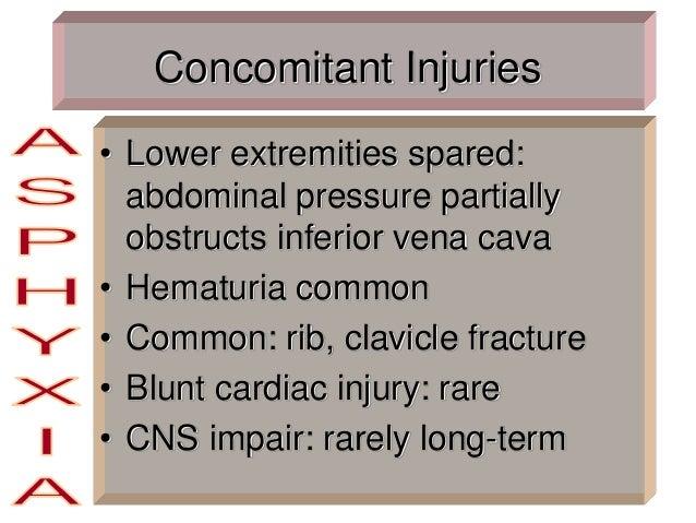 Concomitant Injuries • Lower extremities spared: abdominal pressure partially obstructs inferior vena cava • Hematuria com...