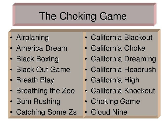 The Choking Game • Airplaning • America Dream • Black Boxing • Black Out Game • Breath Play • Breathing the Zoo • Bum Rush...