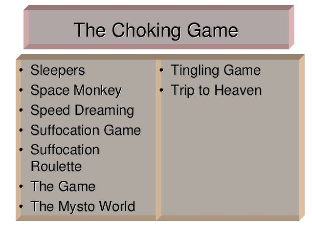 The Choking Game • Sleepers • Space Monkey • Speed Dreaming • Suffocation Game • Suffocation Roulette • The Game • The Mys...