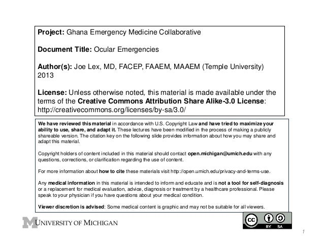 Project: Ghana Emergency Medicine Collaborative  Document Title: Ocular Emergencies  Author(s): Joe Lex, MD, FACEP, FAAEM,...