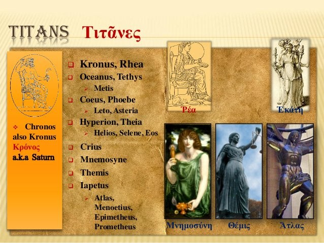 TITANS Τιτᾶνες   Kronus, Rhea    Oceanus, Tethys     Coeus, Phoebe   Chronos also Kronus Κρόνος a.k.a Saturn      ...