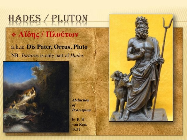 HADES / PLUTON   Αἵδης / Πλούτων  a.k.a: Dis Pater, Orcus, Pluto NB: Tartarus is only part of Hades  Abduction of Proserp...