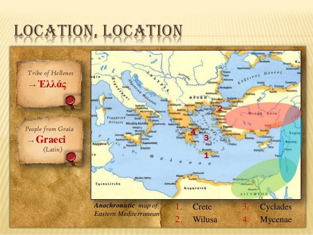 LOCATION, LOCATION Tribe of Hellenes → Ἑλλάς  2 People from Graia →  4  Graeci (Latin)  3 1  Anachronistic map of Eastern ...