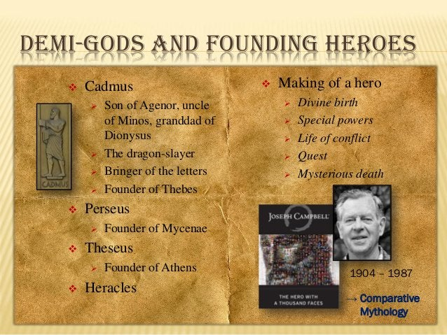 DEMI-GODS AND FOUNDING HEROES   Cadmus               Divine birth Special powers Life of conflict Quest Mysteri...