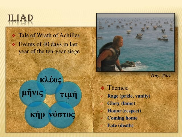 ILIAD    Tale of Wrath of Achilles Events of 40 days in last year of the ten-year siege  κλέος μῆνις τιμή  Troy, 2004  ...
