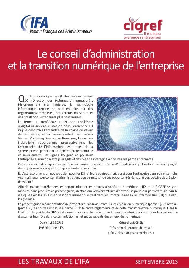 Le conseil d'administration et la transition numérique de l'entreprise Q  ui dit informatique ne dit plus nécessairement D...
