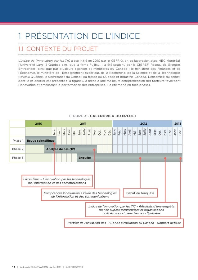 1. PRÉSENTATION DE L'INDICE    1.1 CONTEXTE DU PROJET    L'Indice de l'innovation par les TIC a été initié en 2010 par le...