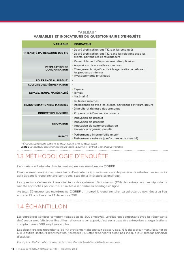TABLEAU 1                  VARIABLES ET INDICATEURS DU QUESTIONNAIRE D'ENQUÊTE                                  VARIABLE  ...