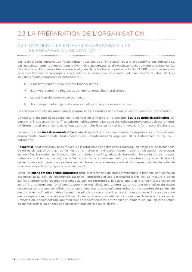 2.3LA PRÉPARATION DE L'ORGANISATION    2.3.1 COMMENT LES ENTREPRISES PEUVENT-ELLES          SE PRéPARER à L'INNOVATION ...