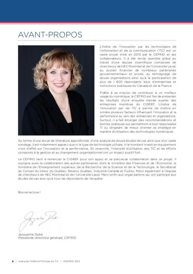 AVANT-PROPOS                                                             L'Indice de l'innovation par les technologies de ...