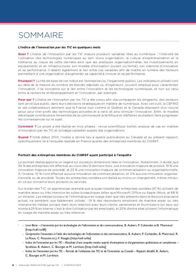 SOMMAIRE    L'Indice de l'innovation par les TIC en quelques mots    Quoi ? L'Indice de l'innovation par les TIC mesure pl...