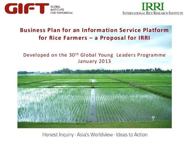 Business Plan for an Information Service Platform      for Rice Farmers – a Proposal for IRRI Developed on the 30 th Globa...