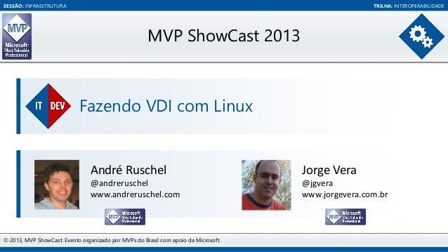 SESSÃO: INFRAESTRUTURA  TRILHA: INTEROPERABILIDADE  MVP ShowCast 2013  Fazendo VDI com Linux  André Ruschel  Jorge Vera  @...