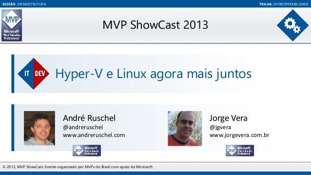 SESSÃO: INFRAESTRUTURA  TRILHA: INTEROPERABILIDADE  MVP ShowCast 2013  Hyper-V e Linux agora mais juntos  André Ruschel  J...
