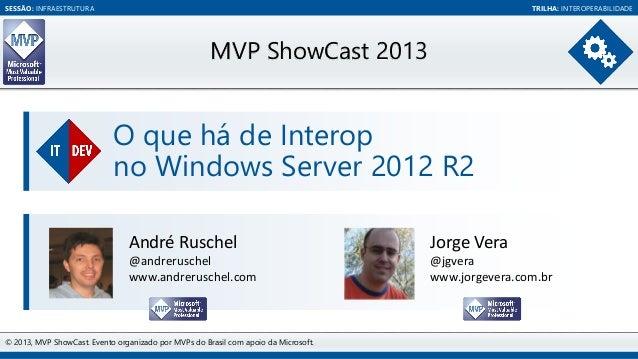 SESSÃO: INFRAESTRUTURA  TRILHA: INTEROPERABILIDADE  MVP ShowCast 2013  O que há de Interop no Windows Server 2012 R2 André...