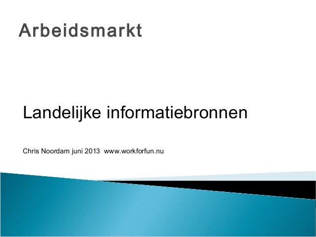 ArbeidsmarktLandelijke informatiebronnenChris Noordam juni 2013 www.workforfun.nu
