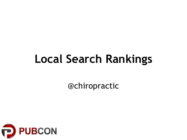 Local Search Rankings @chiropractic