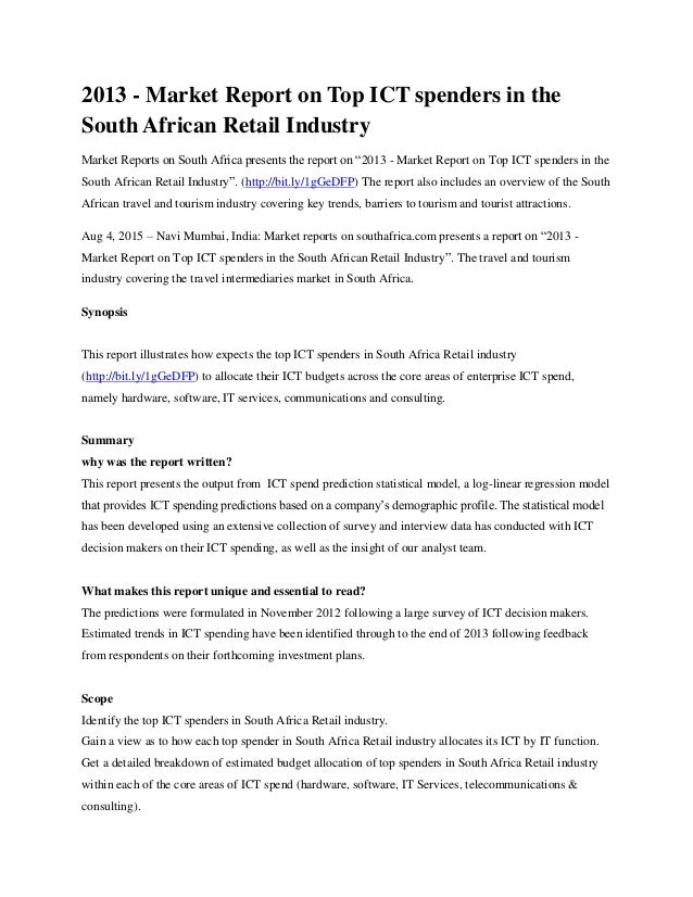 analysis of south africas retail industry South african banking sector overview table of contents sections page 1 background 1 2 total assets 1 3  the sa banking industry is currently made up of 17 registered banks, 2 mutual banks, 14 local  retail revolving credit sme retail credit retail other credit (≤ r30 000) retail other credit ( r30 000).