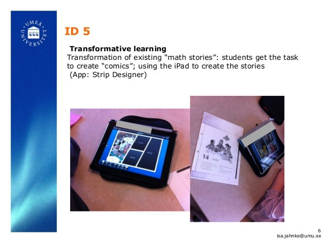 """ID 5 Transformative learning Transformation of existing """"math stories"""": students get the task to create """"comics""""; using th..."""