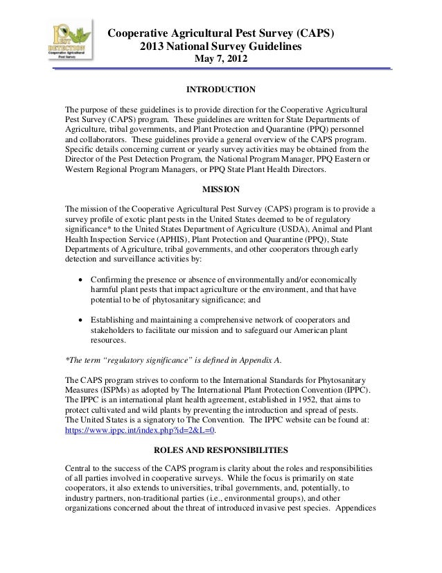 Cooperative Agricultural Pest Survey (CAPS) 2013 National Survey Guidelines May 7, 2012 INTRODUCTION The purpose of these ...