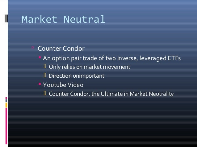 Market Neutral  Counter Condor  An option pair trade of two inverse, leveraged ETFs  Only relies on market movement  D...
